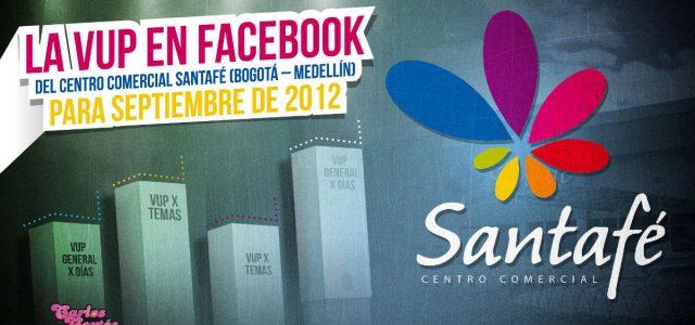 La VUP en Facebook del Centro Comercial SantaFé (Bogotá – Medellín) para Septiembre de 2012