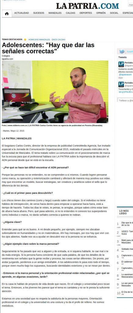 Entrevista Periódico La Patria