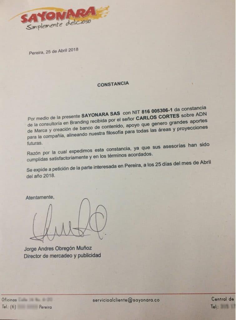 Sayonara Certifica la consultora de Carlos Cortes
