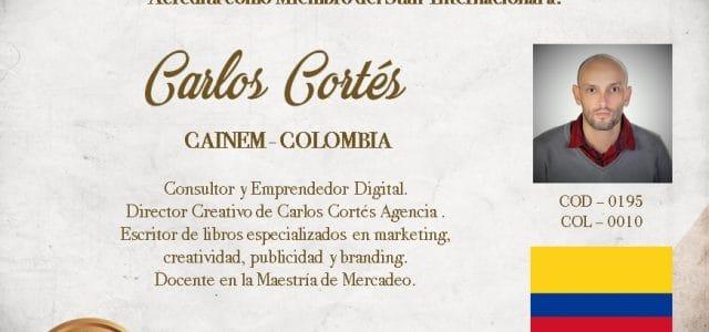 Carlos Cortés acreditado en la Cámara Internacional de Emprendedores (CAINEM)