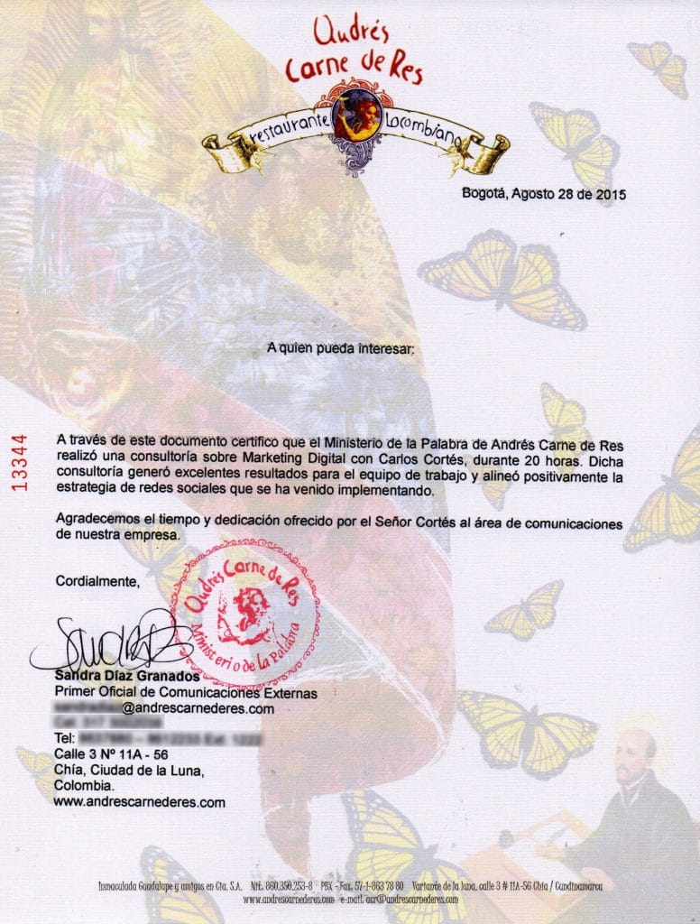 Andrés Carne de Res certifica a Carlos Cortés