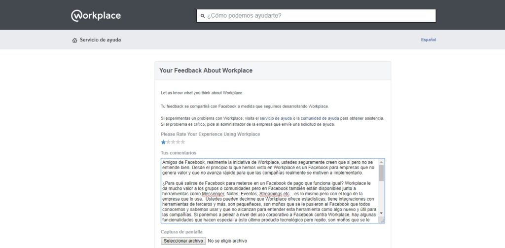 Carta al equipo de Facebook Workplace