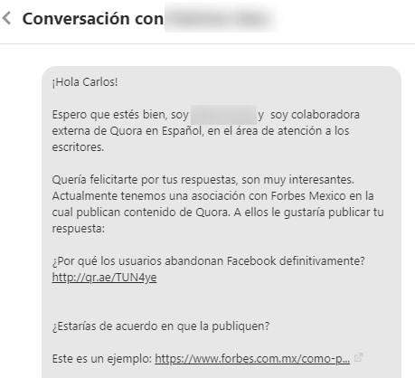 Forbes México quiere publicarme a través de Quora