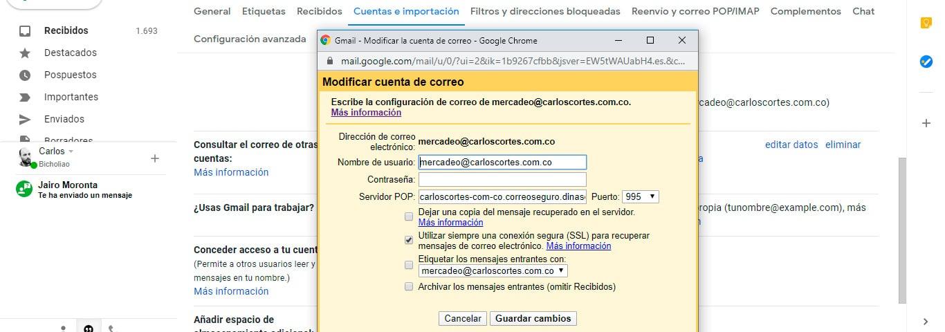 Configurar Gmail como correo corporativo